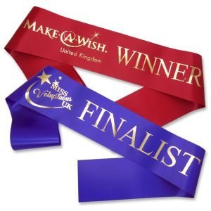 logo print pageant sashes