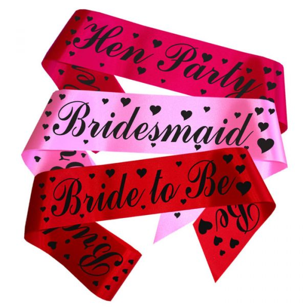 hearts and script hen party sashes