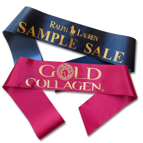 metallic print promotional sash